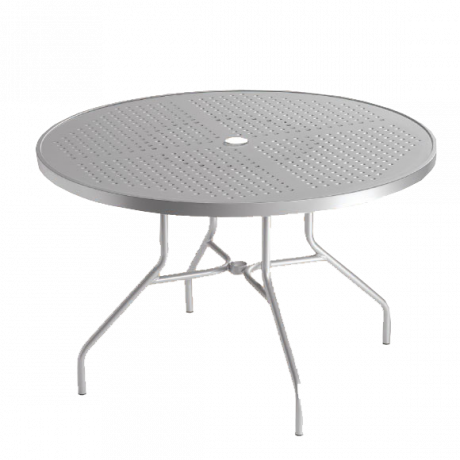 Tropitone Round Boulevard Pattern Aluminum Umbrella Table-Dining Tables