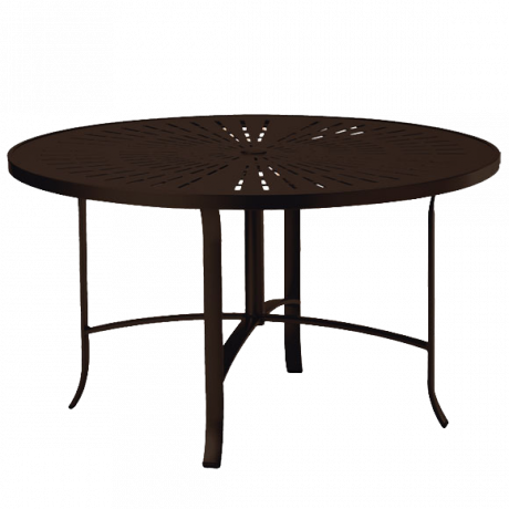 Tropitone 48 In. Round La Stratta Pattern Aluminum Dining Umbrella Table-