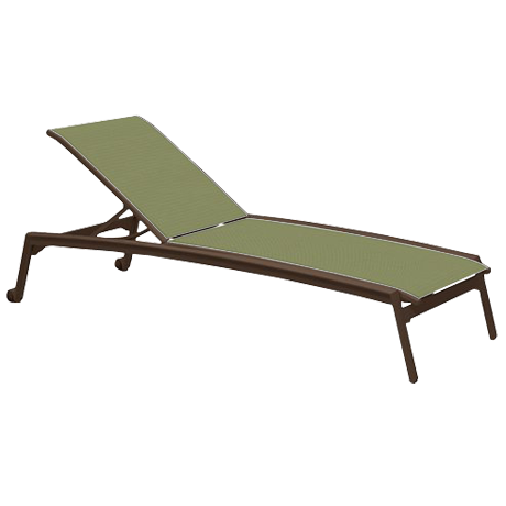 Elance Relaxed Sling Armless Chaise Lounge with Wheels