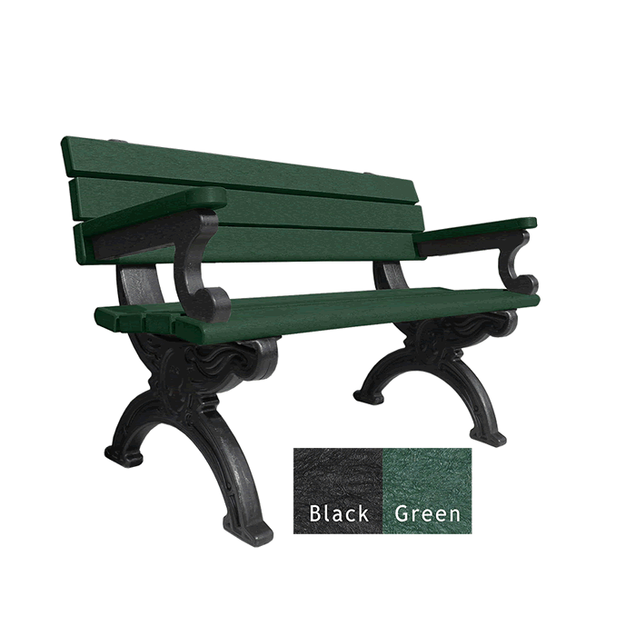 Silhouette Backed Bench with Arms