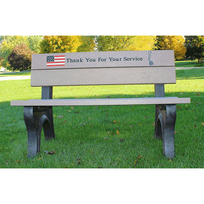 Veterans Backed Bench with Standard Engraving and Inlay
