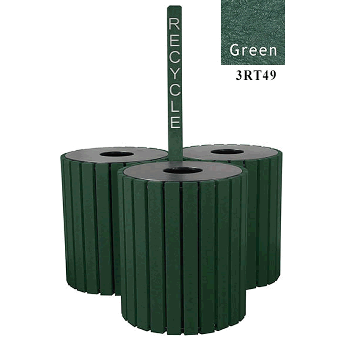 Triple Unit High Capacity Recycle Receptacles